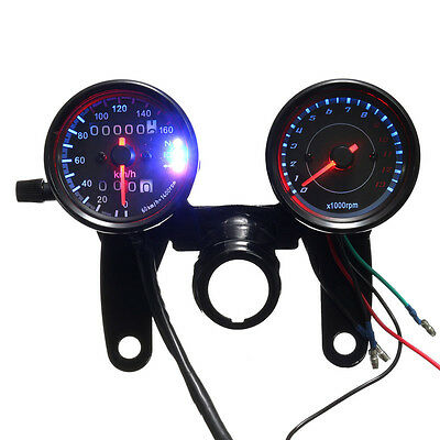 Universal Motorcycle LED Backlight Odometer & Tachometer Speedometer Dual Gauge