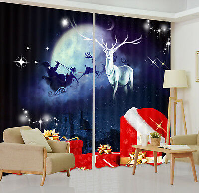 3D Xmas Santa Flying Earth Blockout Photo Printing Curtain Drapes Fabric Window