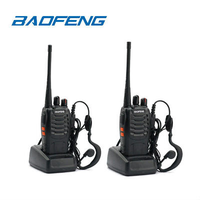 UK 2x Baofeng BF-888S 5W UHF 400-470MHz 16CH Portable Led Torcher Walkie Talkie