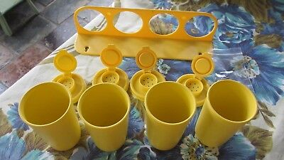Vintage Tupperware Yellow spice set with wall caddy never used complete