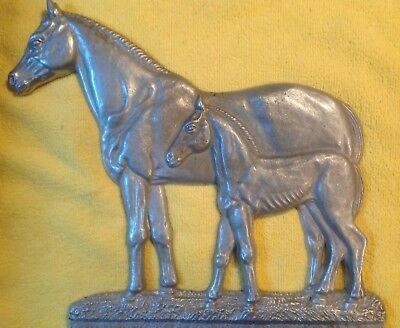 Antique Horse Cast Aluminum rural Mail Box Ornament Mother and Foal