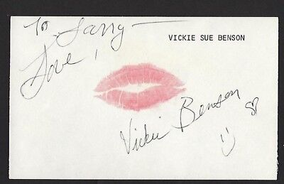 """Vickie Benson signed autograph 3""""x 5"""" card actor """"Cheerleader Camp"""""""