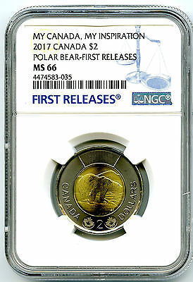 2017 Canada $2 Toonie Ngc Ms66 Polar Bear My Inspiration First Releases