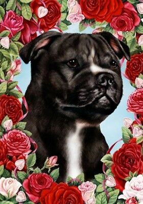 Large Indoor/Outdoor Roses Flag - Black & White Staffordshire Bull Terrier 19231
