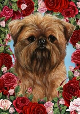 Large Indoor/Outdoor Roses Flag - Brussels Griffon 19128