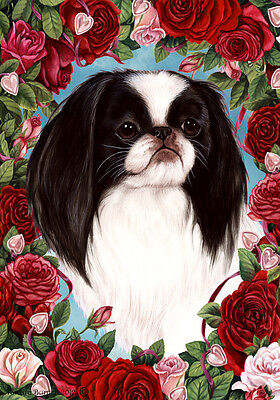 Large Indoor/Outdoor Roses Flag - Japanese Chin 19133