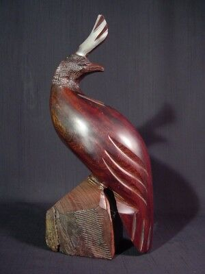 """Vintage Crested Quail Hand Carved Sculpture 11.31"""" Tall Solid Ironwood"""