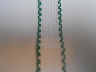 "Zweigart 1"" White with Green Scalloped Edge Aida Band Cross Stitch Fabric 1.8m"