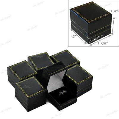 Lot Of (6) High Quality Leatherette Ring Box Black Ring Box Jewelry Gift Box