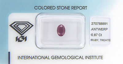 Ruby 0,87 ct IGI Certificat -sealed-