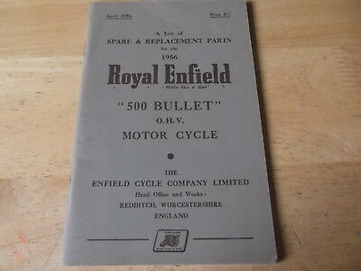 ROYAL ENFIELD ILLUSTRATED SPARE PARTS LIST 1956 FOR 500 cc OHV BULLET GENUINE