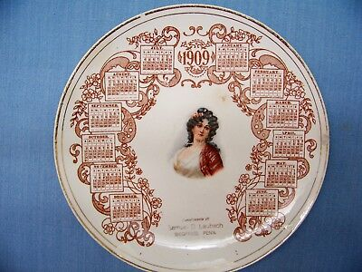 Vintage American China Calendar Plate 1909