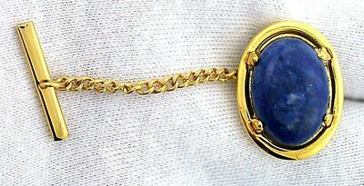 Natural 18x13 Oval Lapis Gem Gold Color Tie Tack With Chain Clutchback EBS7040
