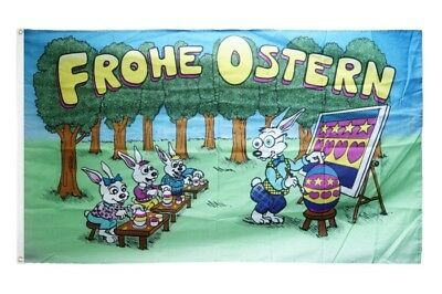 Fahne Frohe Ostern Hasenschule Flagge Oster Hissflagge 90x150cm