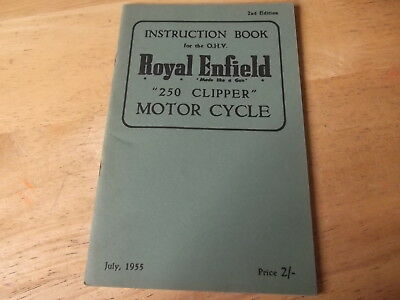 Royal Enfield Instruction Book 1955 For 250 Clipper Genuine Handbook 2Nd Edition