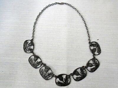 Vintage Awesome 7 Panel Necklace Scottish Thistle Design Choker