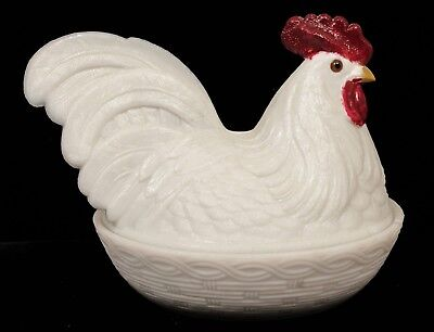 Charming Antique 19c Painted Figural Hen on Basket Covered Milk Glass Dish