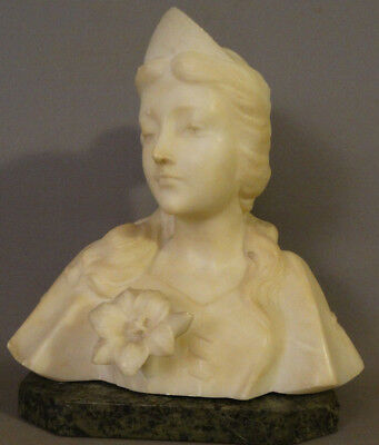 Antique ART NOUVEAU Carved ALABASTER Marble LADY Princess BUST Sculpture STATUE