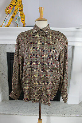 8698c11a4 ANN KLEIN II Vintage 80's Brown Plaid SILK GORGEOUS Button Down Shirt Blouse  12