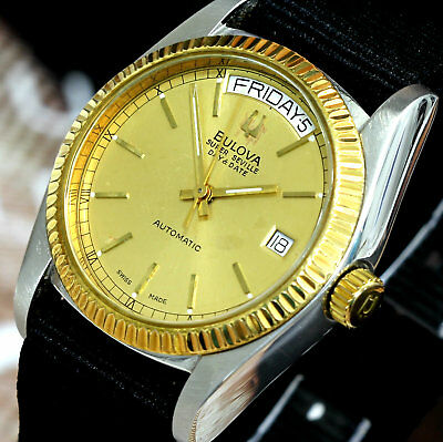 Vintage Swiss Made Bulova Super Seville Day&Date Automatic 17Jewels Men's Watch