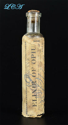 Antique ELIXIR of OPIUM bottle POSTER CHILD of QUACK MED bottles ALL - ORIGINAL