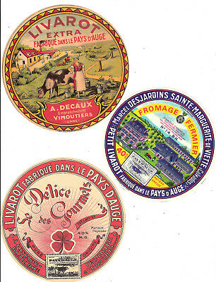 Lot F/ 6 Etiquettes Fromage Livarot Calvados Orne  / Cheese Label Camembert