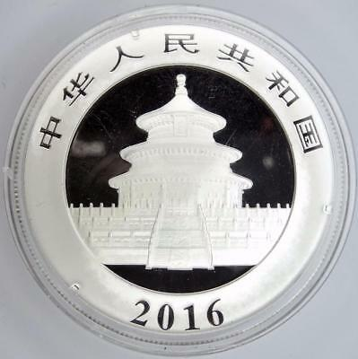 2016 China Silver Panda Coin 30gr 999 Fine Silver 10 Yuan Chinese in Capsule *D1