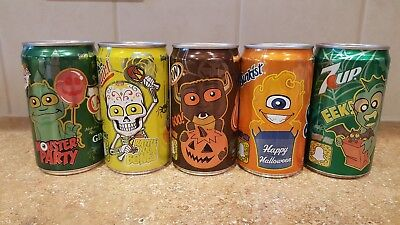 Set of 5 Halloween 2017 7.5 oz soda can 7up, A&W, Squirt, Sunkist, & Canada Dry