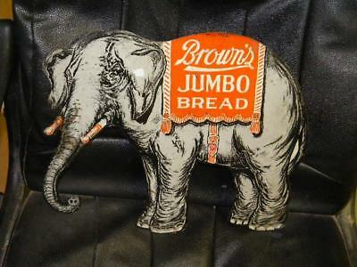 Early Original Diecut Tin Elephant Brown's JUMBO Bread Country Store Sign HTF