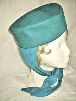 VINTAGE GEORGI PILLBOX WARM HAT W/ ATTACHED SCARF 2 Shades Of Turquoise Sz. 22""