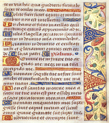 BOOK OF HOURS ILLUMINATED MANUSCRIPT LEAF c.1470 - PSALMS, GOLD, LOVELY BORDERS!