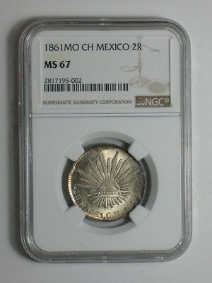 1861 Mo CH Mexico 2 Reales - NGC Certified MS 67 - Mexico City Silver