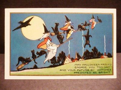 Vintage Whitney HALLOWEEN 3 Witches 11 Black Cats Moon Raven Art Deco POSTCARD