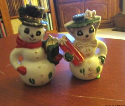 Vintage Norcrest Porcelain Mr & Mrs Snowman Salt & Pepper Shakers