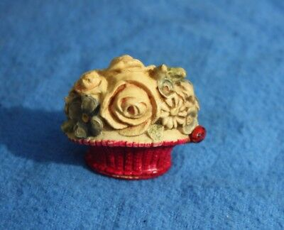 Unusual Vintage Celluloid Floral Bouquet Tape Measure with Ladybug
