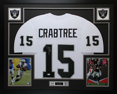 c539ef41f56 Michael Crabtree Autographed   Framed White Raiders Jersey Auto JSA COA ...