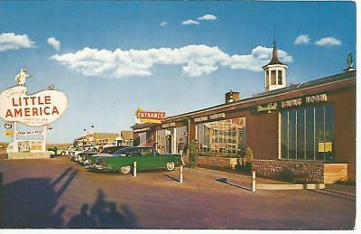 Convey's Little America WY & Vintage Cars With Fins Postcard 1950s