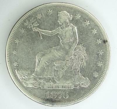 1876-S United States TRADE DOLLAR .900 SILVER VF+ Details - damaged reverse  *S
