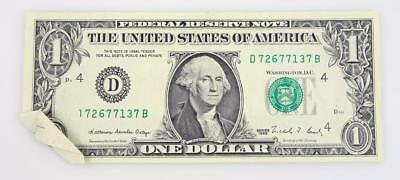 1988-A One Dollar $1 Federal Reserve Note Butterfly Fold Error Note  * S