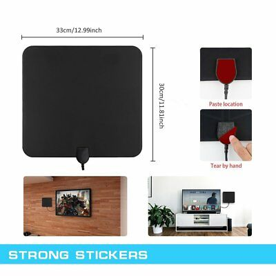 Digital HD TV Antenna Indoor VHF UHF HDTV Box Flat with Amplifier 50 Miles Range