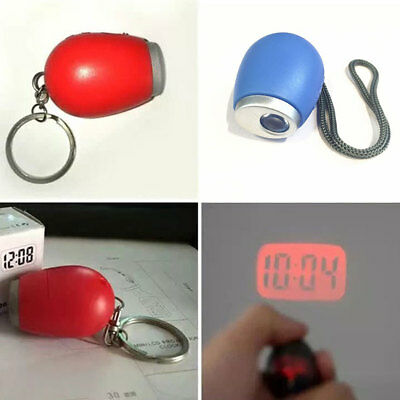 Digital Portable Mini LED Projection Alarm Clock Lamp Red Light Keychain Gifts