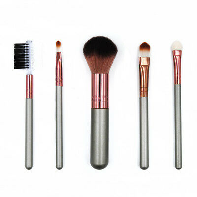 5Pcs/set Makeup Brush Set Powder Eye Cosmetic Kit Complete Rose Golden With Case
