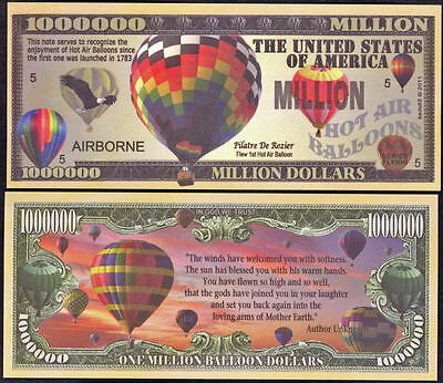Lot of 100-HOT AIR BALLOON NOVELTY MILLION DOLLAR BILLS
