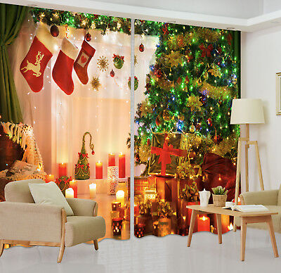 3D Xmas Colorful Tree Indoor Blockout Photo Printing Curtain Drape Fabric Window