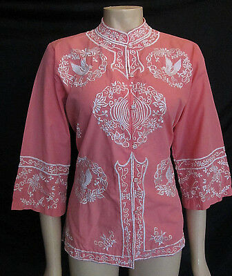 Vintage Hippie 1970s Pink / White Embroidered Cotton Blouse - Mod Size 12.
