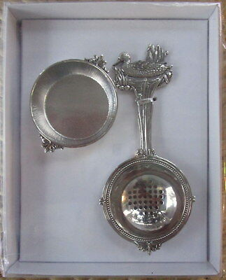 Silver Tea Leaf Infuser Strainer With Duck On Spade & Drip Bowl! Christmas Gift