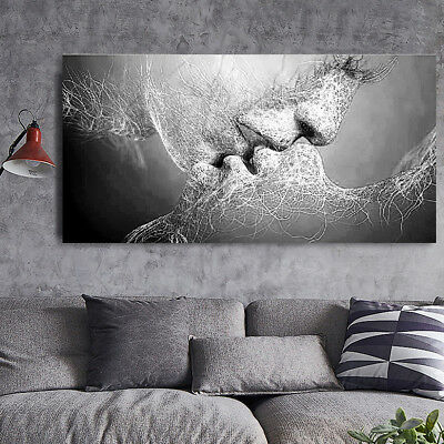 Black & White Love Kiss Abstract Art Canvas Painting Print Picture Wall Decor