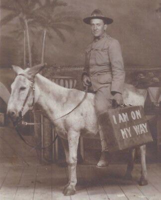 """1910s RP POSTCARD ARMY SOLDIER ON DONKEY & """"I AM ON THE WAY"""" LUGGAGE NOVELTY"""
