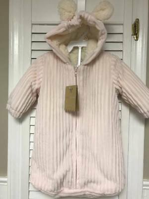 Nwt Monlapin Infant Girl's Pink Ribbed Minky Sherpa Lined Baby Bunting 0-3M