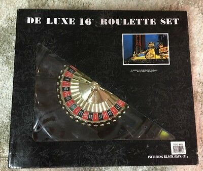 "Deluxe 16"" Roulette And Blackjack Set Chips Felt Playing Surface Rake"